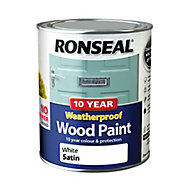 Ronseal White Satin Wood paint, 0.75L