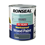 Ronseal Grey Satin Wood paint 0.75L
