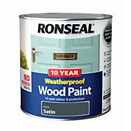 Ronseal Grey Satin Wood paint 2.5L