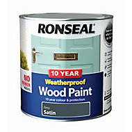 Ronseal Grey Satin Wood paint, 2.5L
