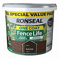 Ronseal One coat fence life Dark oak Matt Fence & shed Wood treatment, 12L
