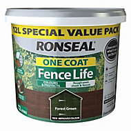 Ronseal One coat fence life Forest green Matt Fence & shed Wood treatment, 12L