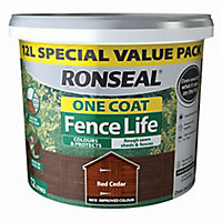 Ronseal One coat fence life Red cedar Matt Fence & shed Wood treatment, 12L