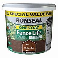 Ronseal Fence life Medium oak Matt Opaque Shed & fence treatment 12L