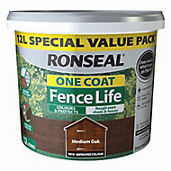 Ronseal One coat fence life Medium oak Matt Fence & shed Wood treatment, 12L