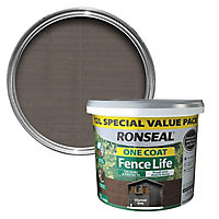 Ronseal One coat fence life Charcoal grey Matt Fence & shed Wood treatment, 12L