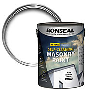 Ronseal Self-cleaning Pure brilliant white Smooth Matt Masonry paint, 5L