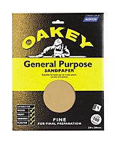 Oakey 100 Grit Fine Sandpaper, Pack of 5