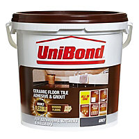 Unibond Ready mixed Grey Floor Tile Adhesive & grout, 14.3kg
