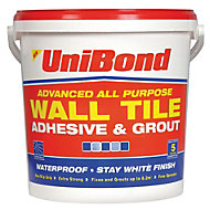 UniBond Ready to use Wall tile adhesive & grout, White 12.8kg