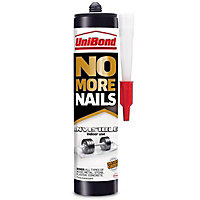 UniBond No More Nails Invisible Solvent-free Water-based White Multi-purpose Masonry, concrete, plaster, chipboard & wood Grab adhesive 280ml