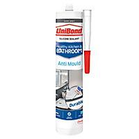 UniBond Healthy kitchen & bathroom Mould resistant Dark grey Silicone-based Sealant, 300ml
