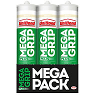 UniBond MegaGrip Solvent-based Beige Grab adhesive 300ml, Pack of 3