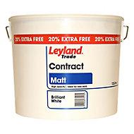 Leyland Trade Contract White Matt Emulsion paint, 12L