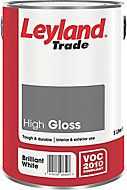 Leyland Trade Pure brilliant white Gloss Metal & wood paint, 5L