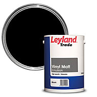 Leyland Trade Black Matt Emulsion paint, 5L