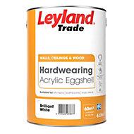 Leyland Trade Brilliant white Acrylic eggshell Emulsion paint 5L