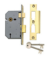 Yale 76mm Brass effect 3 Lever Mortice sashlock