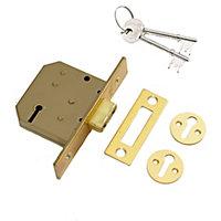 Yale 64mm Polished Brass 3 lever Deadlock