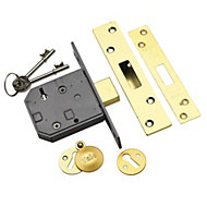 Yale 76mm Polished brass 5 Lever Deadlock