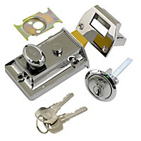 Yale Chrome effect LH & RH Deadlock Night latch, (H)66mm (W)93mm