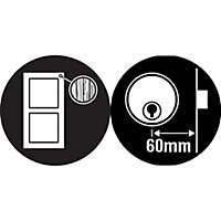 Yale Chrome effect LH & RH Deadlock Night latch, (H)70mm (W)93mm