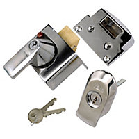 Yale Chrome effect Night latch, (H)90mm (W)90mm