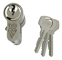 Yale Satin Nickel effect Single Euro Cylinder lock, (L)70mm (W)29mm