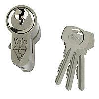 Yale Satin Nickel effect Single Euro Cylinder lock, (L)80mm (W)29mm