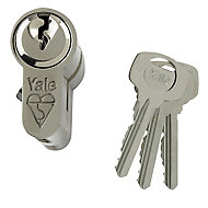 Yale Satin Nickel effect Single Euro Cylinder lock, (L)95mm (W)29mm