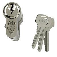 Yale Satin Nickel effect Single Euro Cylinder lock, (L)95mm (W)29mm