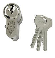 Yale 100mm Nickel plated Euro cylinder lock
