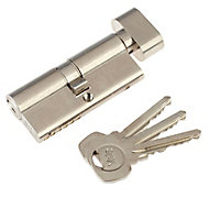 Yale Satin Nickel-plated Single Euro Thumbturn Cylinder lock, (L)70mm (W)29mm