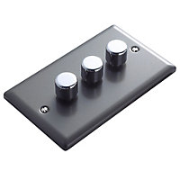 Volex 2 way Triple Pewter effect Dimmer switch