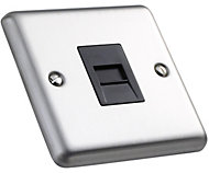 Volex 1 gang Raised Brushed stainless steel effect Telephone socket