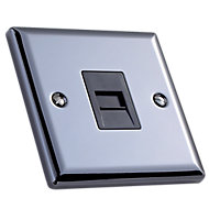 Volex 1 gang Raised Polished grey iridium effect Telephone socket