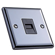 Volex 1 gang Raised Polished grey iridium effect Telephone socket