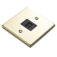 Volex 1 gang Raised Polished brass effect Telephone socket