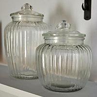 Small Ornate Glass Jar, Clear
