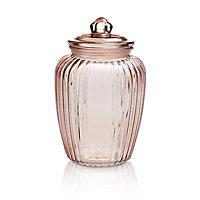 Large Ornate Glass Jar, Pink