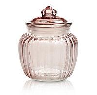 Small Ornate Glass Jar, Pink