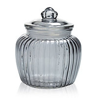 Medium Ornate Glass Jar, Grey