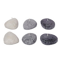 Pebble shaped Unscented Candle, Pack of 6