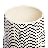 Cream Geometric herringbone Dolomite Vase