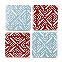 Grey & red Mosaic print Ceramic Coasters