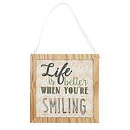 'Life is better when you're smiling' Multicolour Framed typography plaque (W)9mm (H)190mm