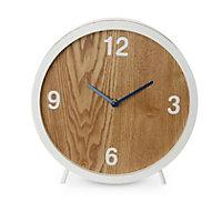 Retro Wooden White Quartz Mantle clock