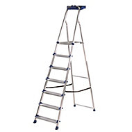 Werner 7 tread Aluminium & steel Platform step Ladder (H)2.12m