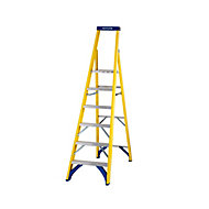 Werner 6 tread Fibreglass Platform step Ladder (H)3.16m
