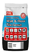 NX Antibacterial Ready mixed Steel grey Tile grout, 5kg